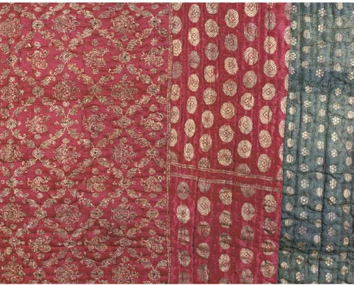 A QUILT COMPOSED OF BENARES BROCADES AND A PAIR OF HANGINGS