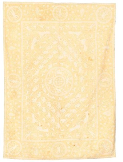 AN EMBROIDERED COVERLET, INDIA