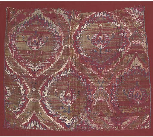 A PANEL OF RED SILK BROCADE, OTTOMAN, LATE 16TH, EARLY 17TH CENTURY