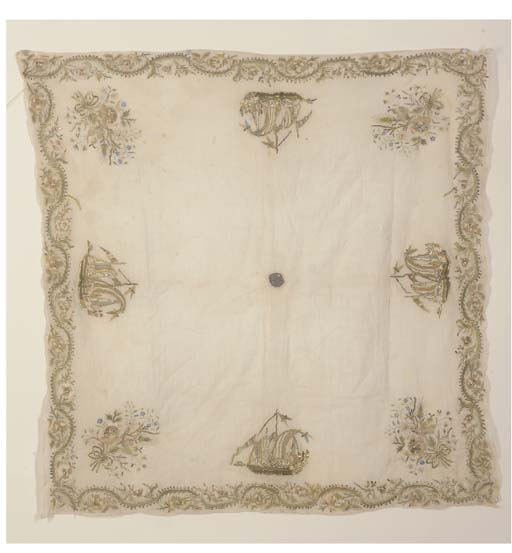 A TURKISH BOCHA EMBROIDERED WITH SHIPS, EARLY 19TH CENTURY