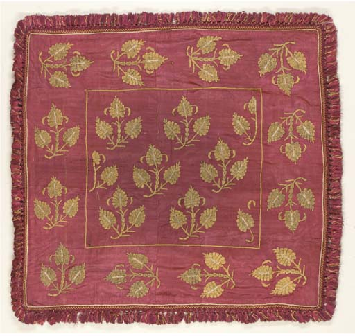 A COLLECTION OF TEXTILES INCLUDING A RED SATIN BOCHA, OTTOMAN, 18TH CENTURY