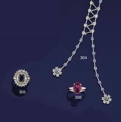 A sapphire and diamond lavalie