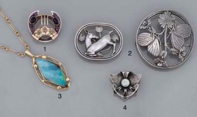 A silver, amethyst, half-pearl