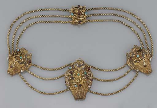 A 19th century gold and gem ne