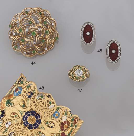 A pair of enamel and rose-cut