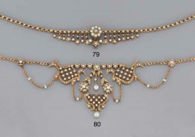 An Edwardian gold, half-pearl