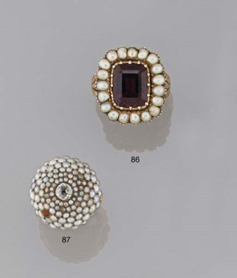 AN ANTIQUE HALF-PEARL AND DIAM