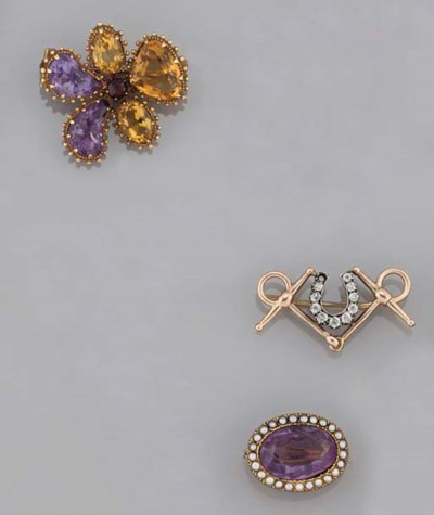 Three 19th century gem-set bro