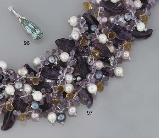An amethyst, cultured pearl and citrine torsade necklace