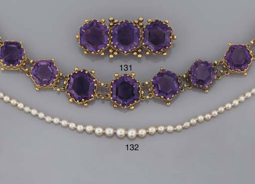 A suite of amethyst jewellery
