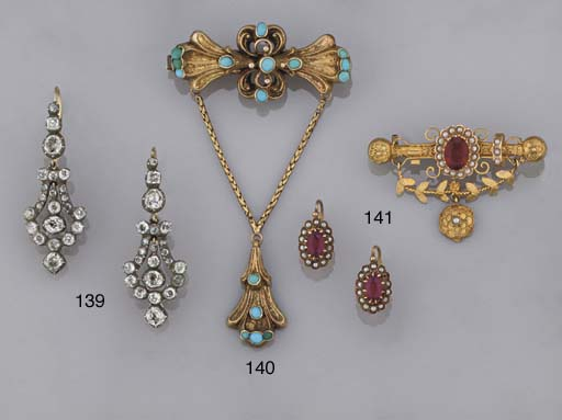 Five various Victorian brooche