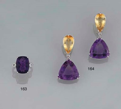 A pair of amethyst and citrine