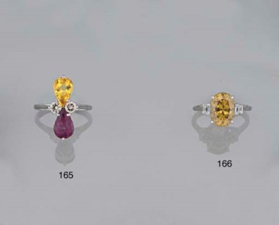 A yellow and pink sapphire and