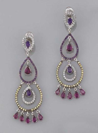 A pair of diamond and gem earp