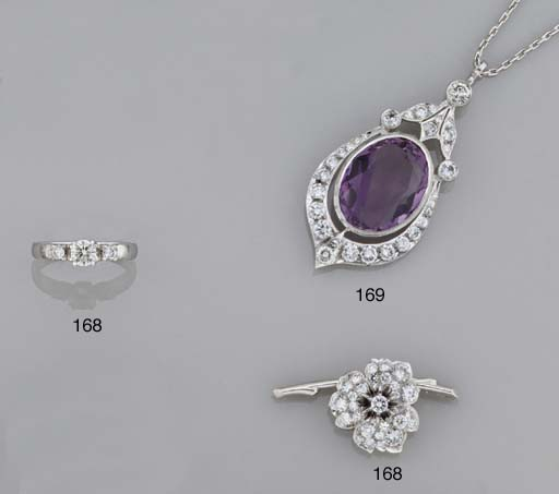 An amethyst and diamond penden