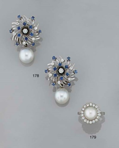 A pair of cultured pearl, sapp