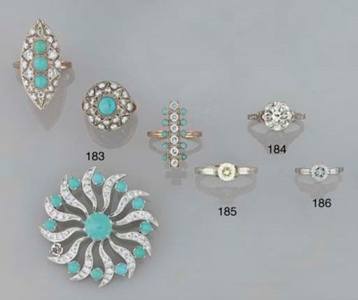 A small group of turquoise and