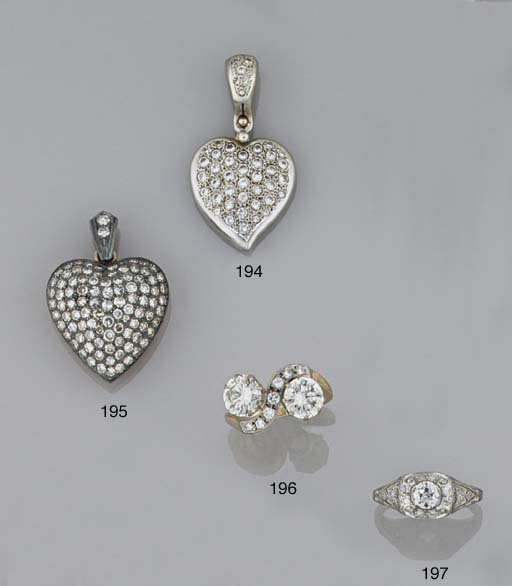 A diamond heart-shaped locket