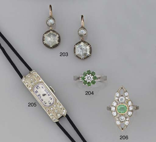 A pair of rose-cut diamond two
