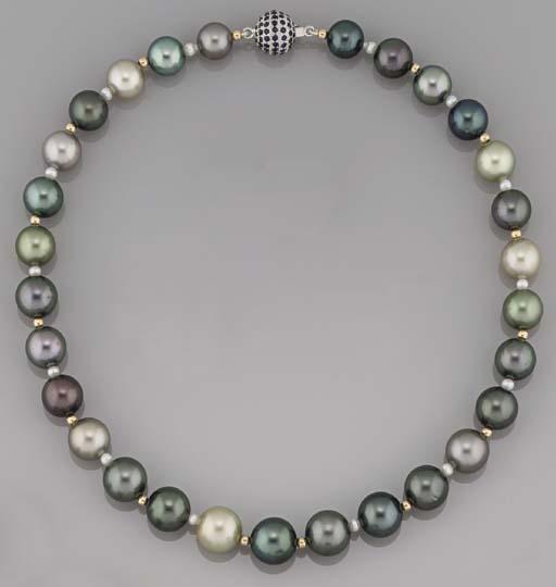 A vari-coloured cultured pearl