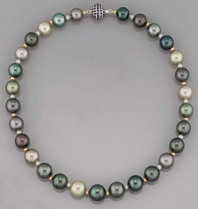 A vari-coloured cultured pearl