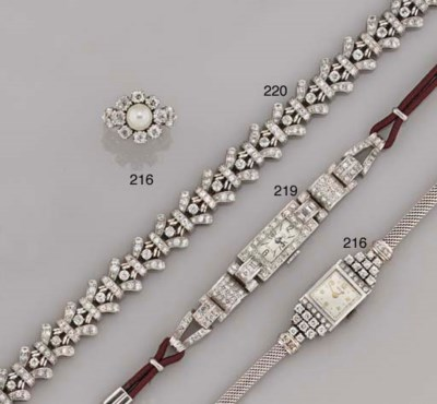 A lady's diamond wristwatch an