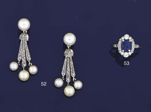 A pair of cultured pearl and r