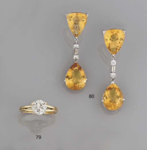 A pair of diamond and citrine