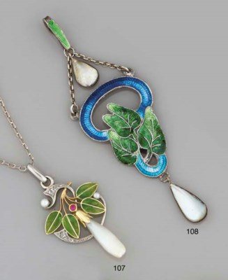 An Art Nouveau pendant, by C T