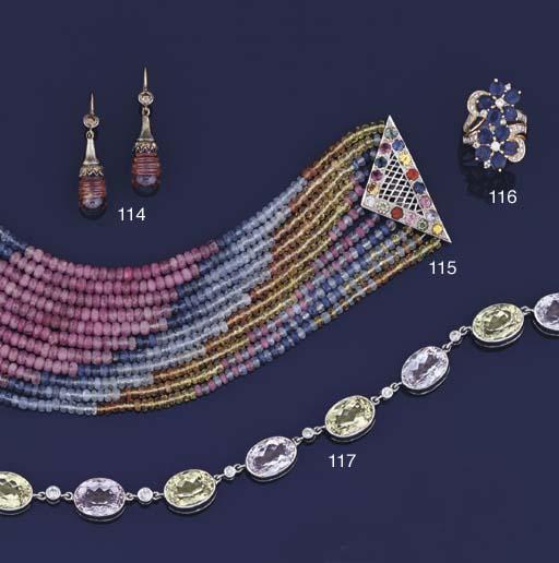 A vari-coloured sapphire facet