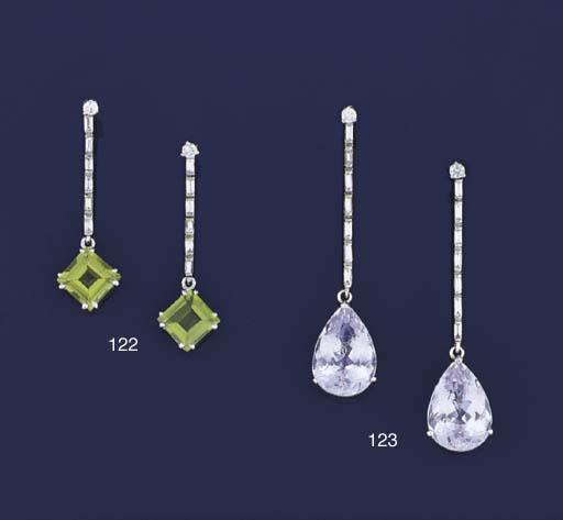 A pair of peridot and diamond