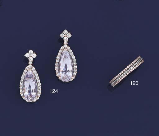 A pair of diamond and kunzite