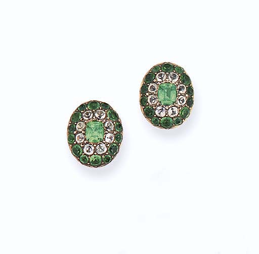 A pair of late 18th  early 19th century green and colourless paste earpendants
