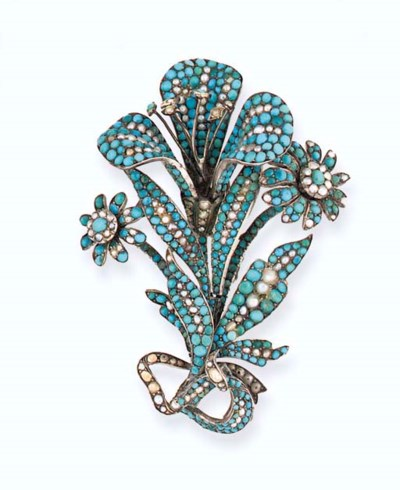 A 19th century turquoise and h