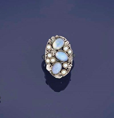 An opal and pearl cluster ring