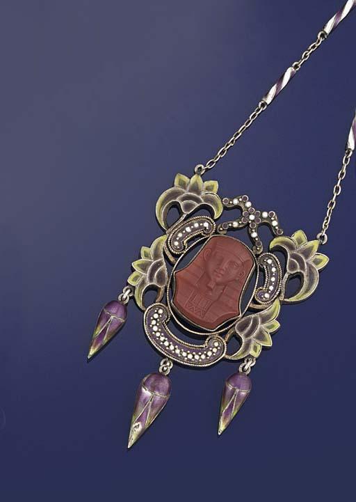 An Art Nouveau silver and enamel pendent necklace