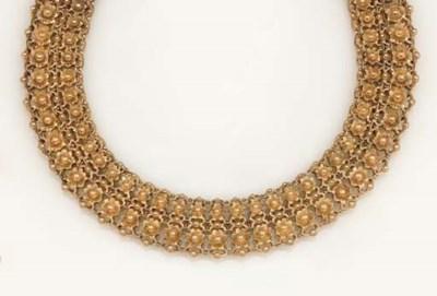 A late 19th century gold neckl