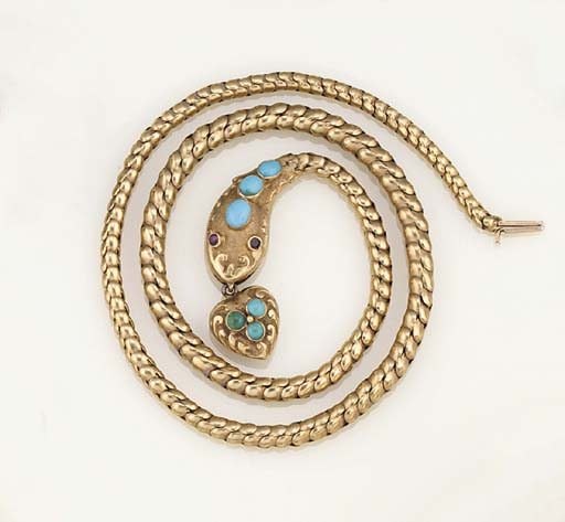 A Victorian gold and turquoise serpent necklace
