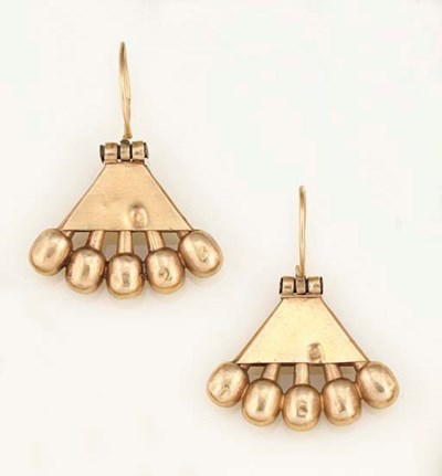 A pair of antique gold earring