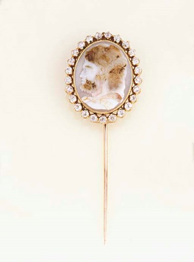 A 19th century agate cameo sti