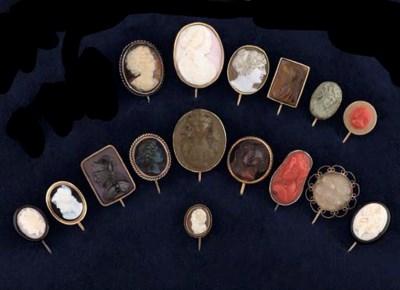 A group of 16 cameo stickpins