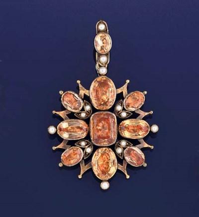 A 19th century gold, orange fo