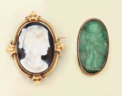 Seven 19th century cameo brooc