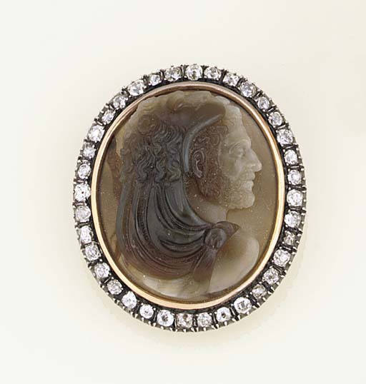 A 19th century gold-mounted diamond and agate cameo brooch