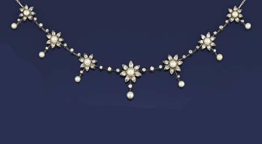 A late 19th century diamond and pearl necklace
