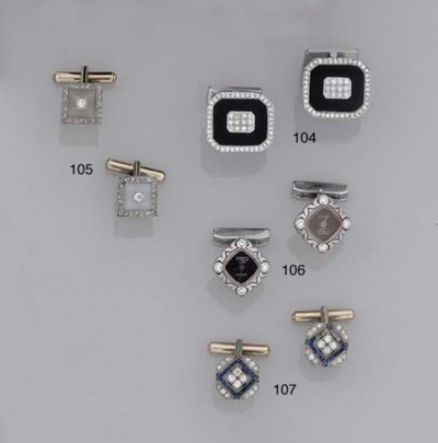 A pair of 18ct. white gold and