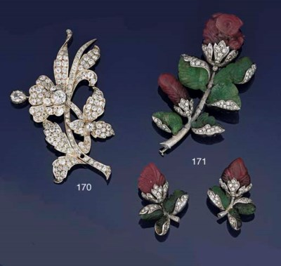 A ruby, emerald and diamond br
