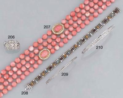 A diamond and gem bracelet