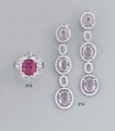 A pair of diamond and kunzite