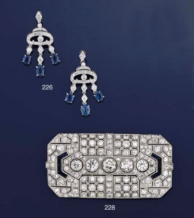 An Art Deco diamond and synthe